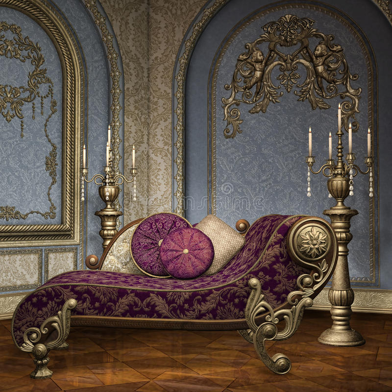 Baroque palace room. Room with Luxury furniture in a Baroque palace royalty free illustration