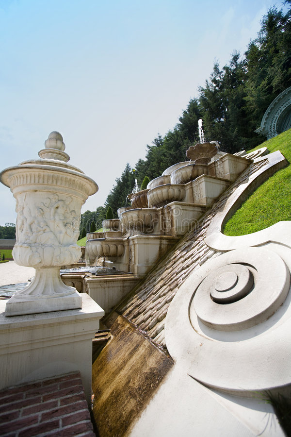 Baroque park with fountain royalty free stock images
