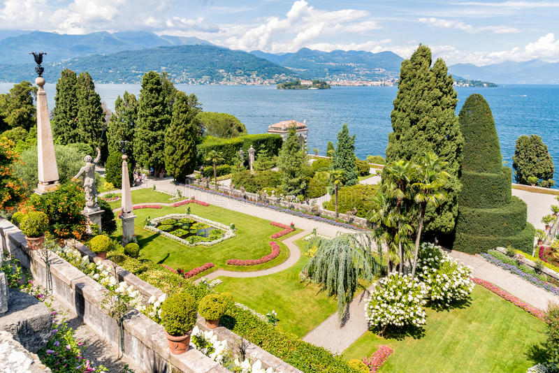 Baroque park garden of island Bella - isola Bella of Lake Maggiore in Italy. Baroque garden of island Bella - isola Bella, is one of the Borromean Islands of royalty free stock photo
