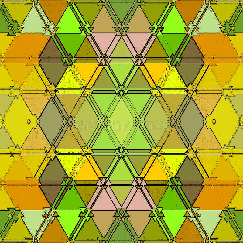 Baroque pattern of continuous triangles texture in yellow and green. Colorful mosaic background vector illustration