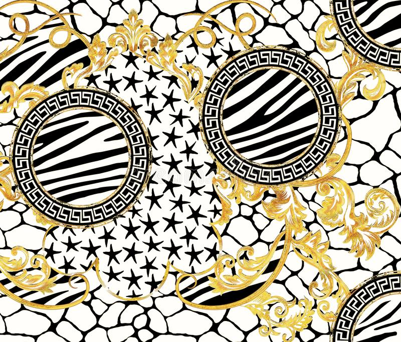Baroque Pattern Design with Graphic Zebra Giraffe Skin and Stars Design royalty free illustration