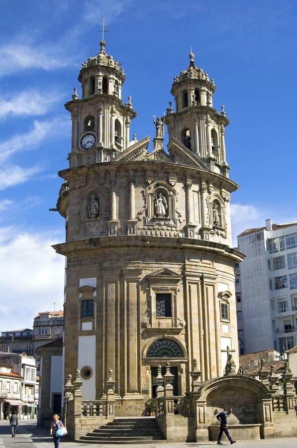 Baroque pilgrims church Virxe Peregrina Pontevedra. Spain, Pontevedra province, region Galicia, city Pontevedra. The church Sanktuarium of Virxe Peregrina stock photo