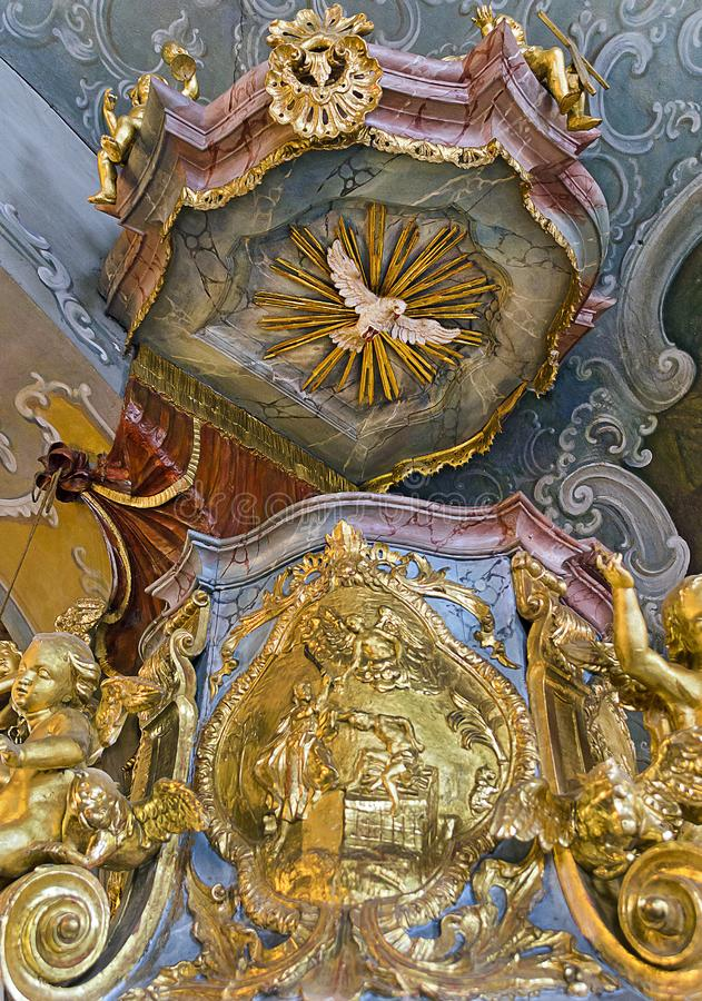 Baroque pulpit at Retz. RETZ, AUSTRIA - SEPEMBER 3, 2018: pulpit in baroque style at the townhall chappel royalty free stock photo