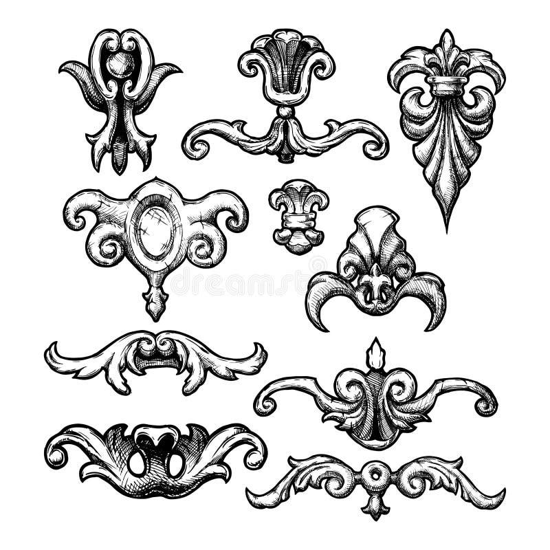 Baroque and renaissance decorative design elements vector illustration