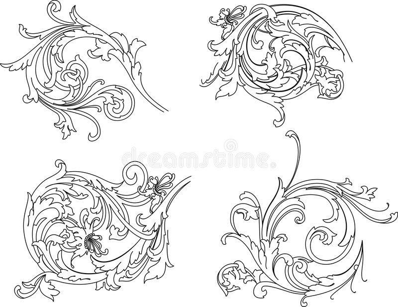 Baroque Rosette Traditional Style. vector illustration