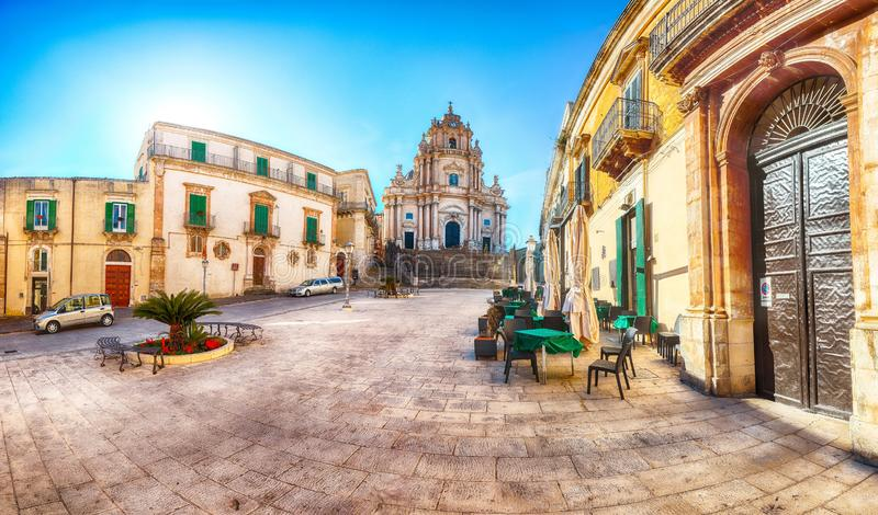 The baroque Saint George cathedral of Modica and Duomo square in Ragusa royalty free stock image