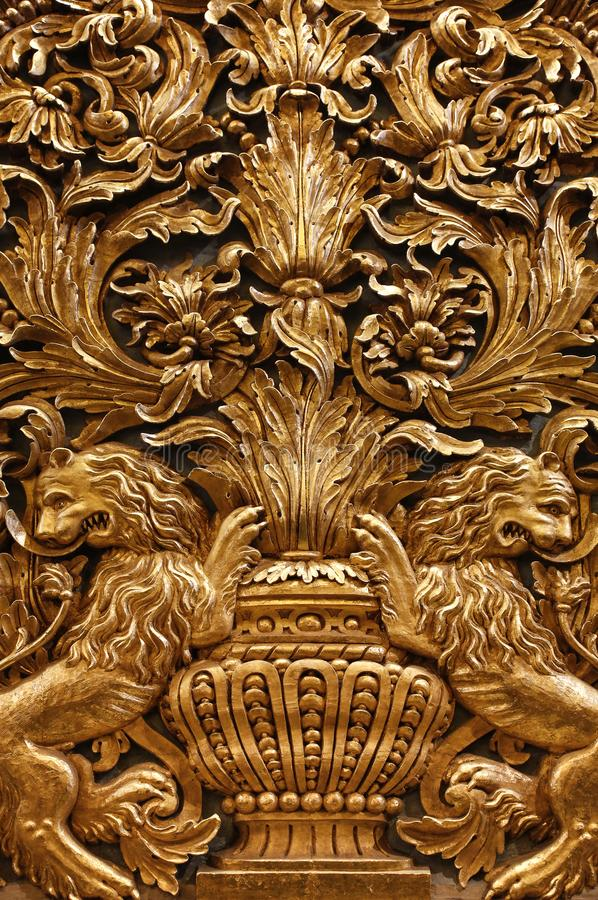Gold baroque ornaments of the malta cathedral royalty free stock photography