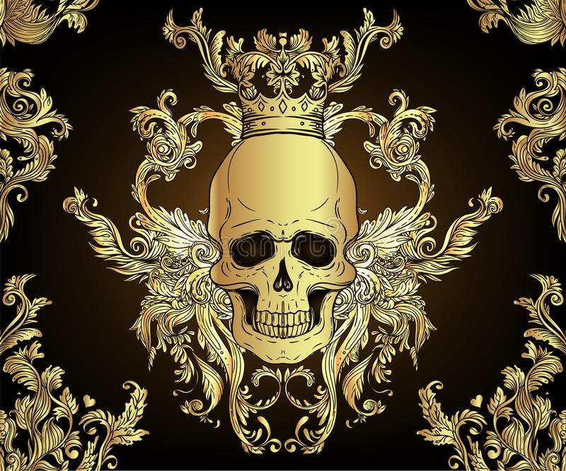 Baroque seamless ornament. Damask style pattern with skull. Vintage ornate design for wallpaper, wrapper royalty free illustration