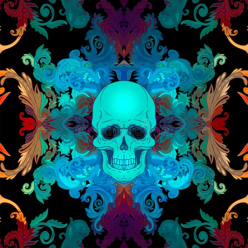Free Baroque Seamless Ornament. Damask Style Pattern With Skull. Vintage Ornate Design For Wallpaper, Wrapper Stock Image - 140638111