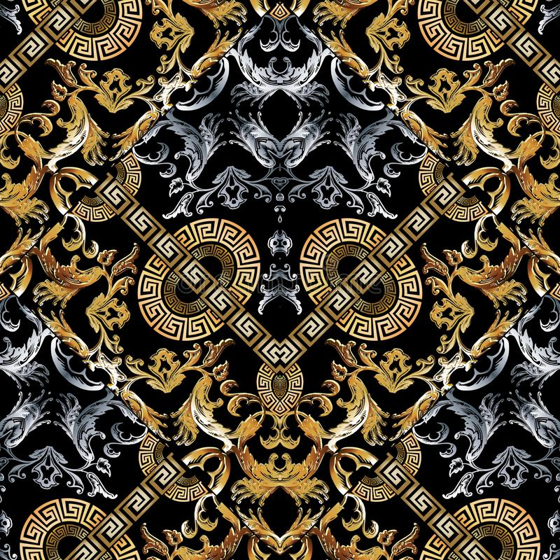 Baroque seamless pattern. Black vector damask background wallpaper with vintage gold silver 3d flowers, scroll leaves, circle stock illustration