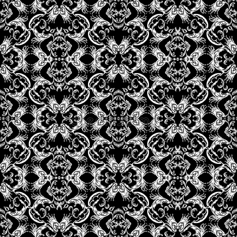 Baroque seamless pattern. Black and white vintage floral background. Antique decorative ornaments. Monochrome repeat endless tex stock illustration