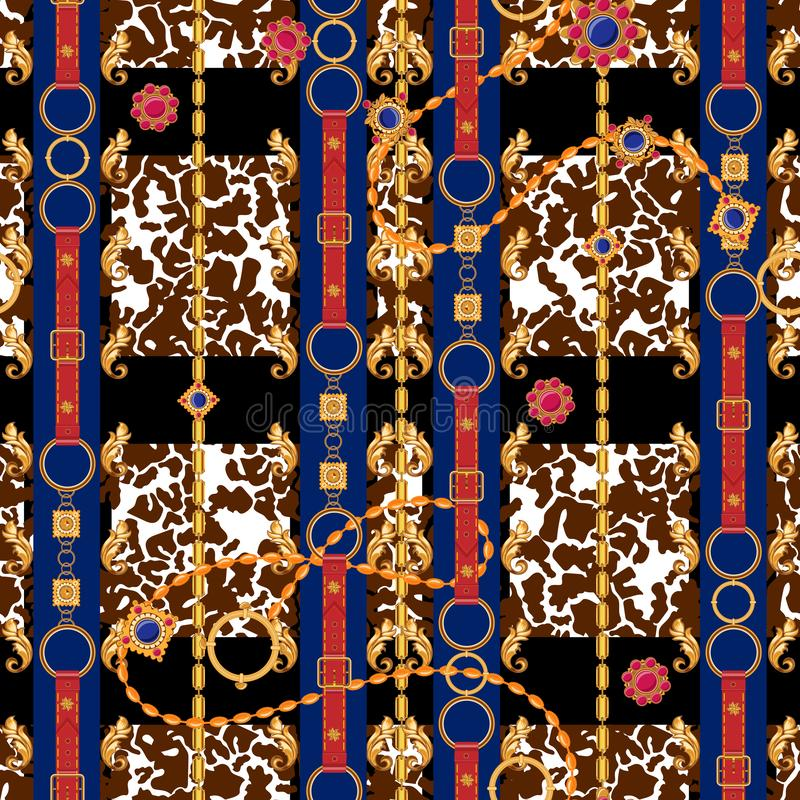 Baroque seamless pattern with chains, gems and leaves. Vector check patch for scarfs, print, fabric.  stock illustration