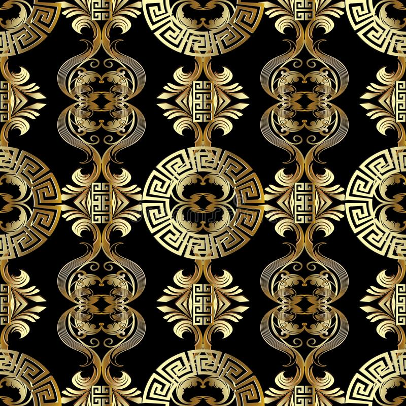 Baroque seamless pattern. Greek vector background. Vintage gold royalty free stock photo
