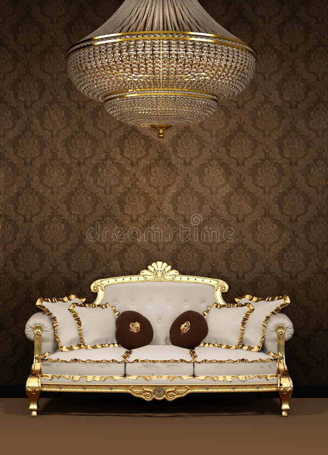 Baroque sofa and chandelier in luxury apartment vector illustration
