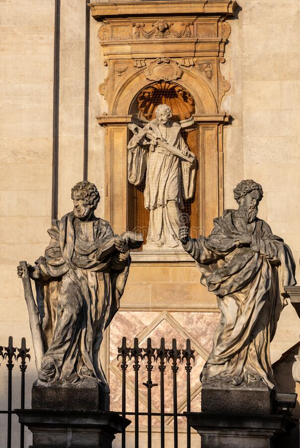Baroque St Peter and St Paul Church in Cracow, Poland. Apostles statues royalty free stock photography