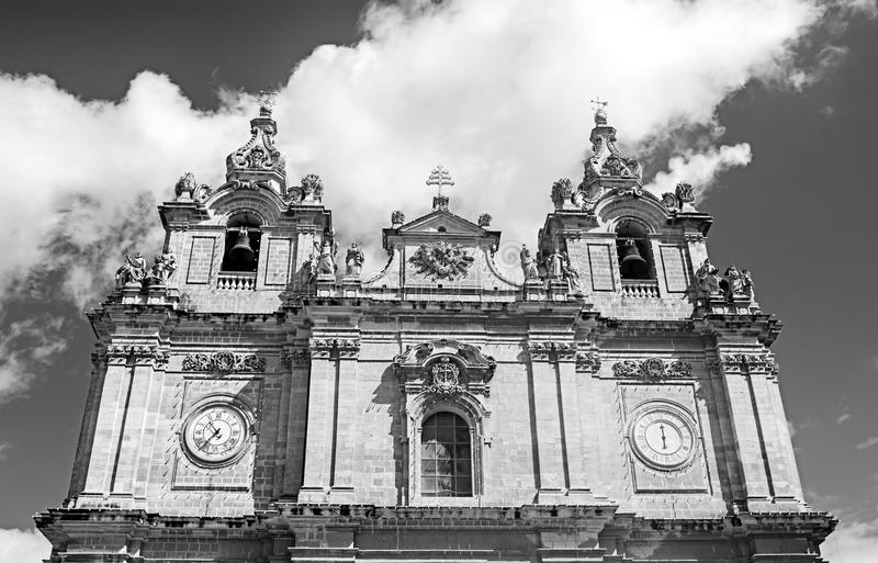 A Baroque style Church in monochrome. The Church of Saint Helena located in Birkirkara, Malta in monochrome stock image