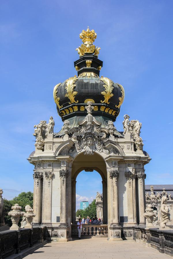 The Baroque style of crown gate at the Zwinger Palace, Germany royalty free stock photography