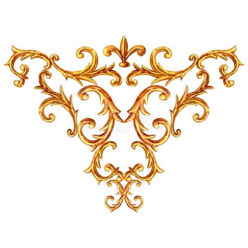 Baroque style element. Watercolor hand drawn vintage engraving floral scroll filigree frame design pattern royalty free illustration