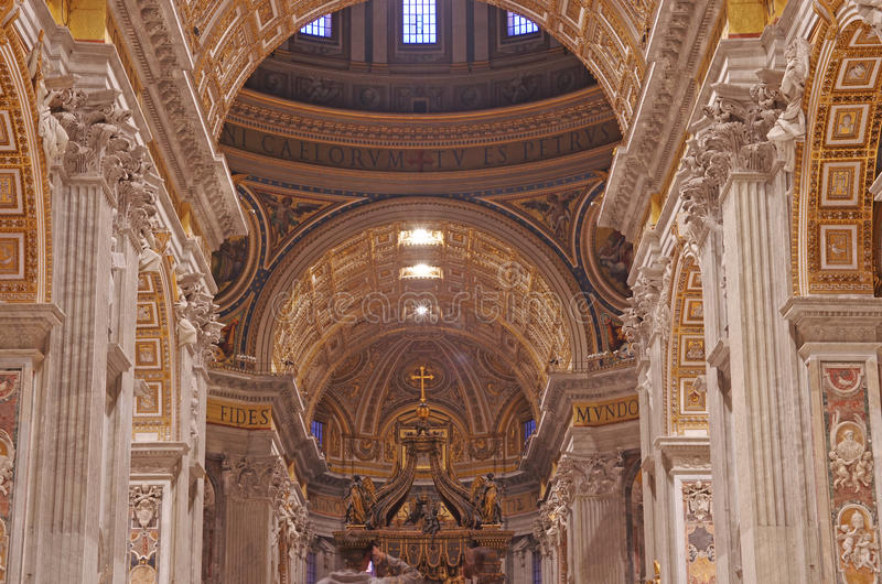 Baroque style elements. In architecture. Details in Saint Peter Basilica, Vatican City stock photography