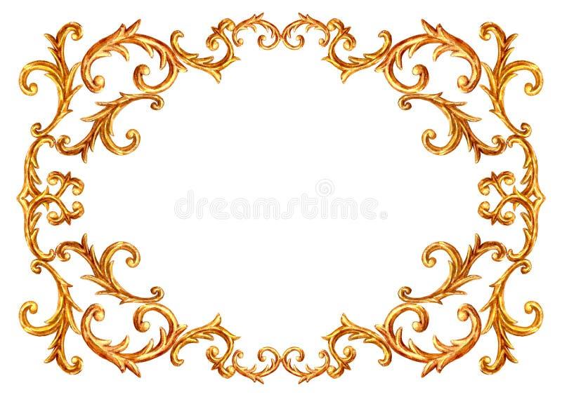 Baroque style elements. Watercolor hand drawn vintage engraving floral scroll filigree design frame stock illustration