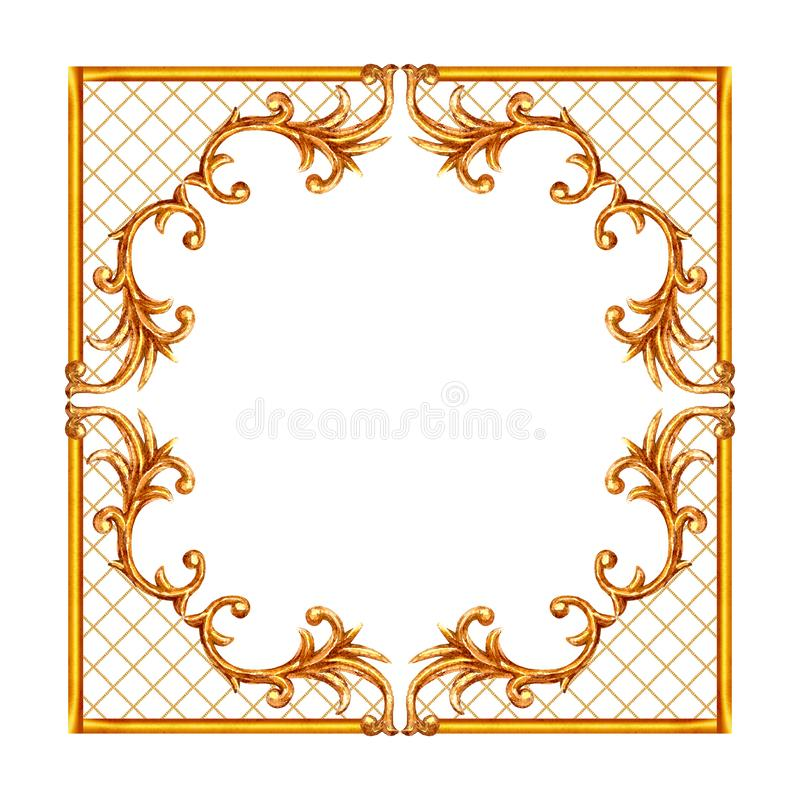 Baroque style elements. Watercolor hand drawn vintage engraving floral scroll filigree design frame. Golden oriental damask curls and flowers collection for royalty free illustration