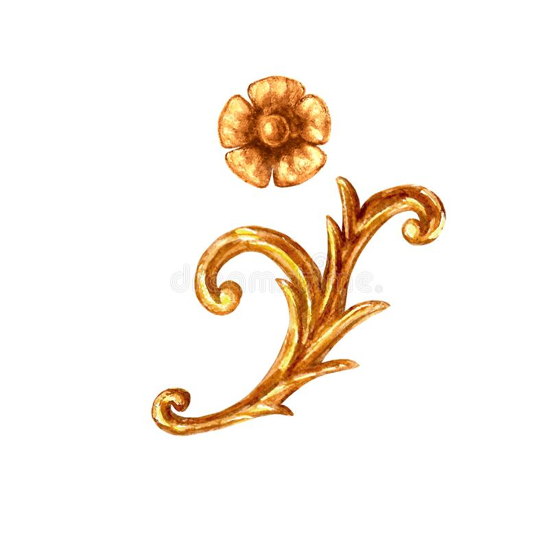 Baroque style elements. Watercolor hand drawn vintage engraving floral scroll filigree frame design set stock illustration