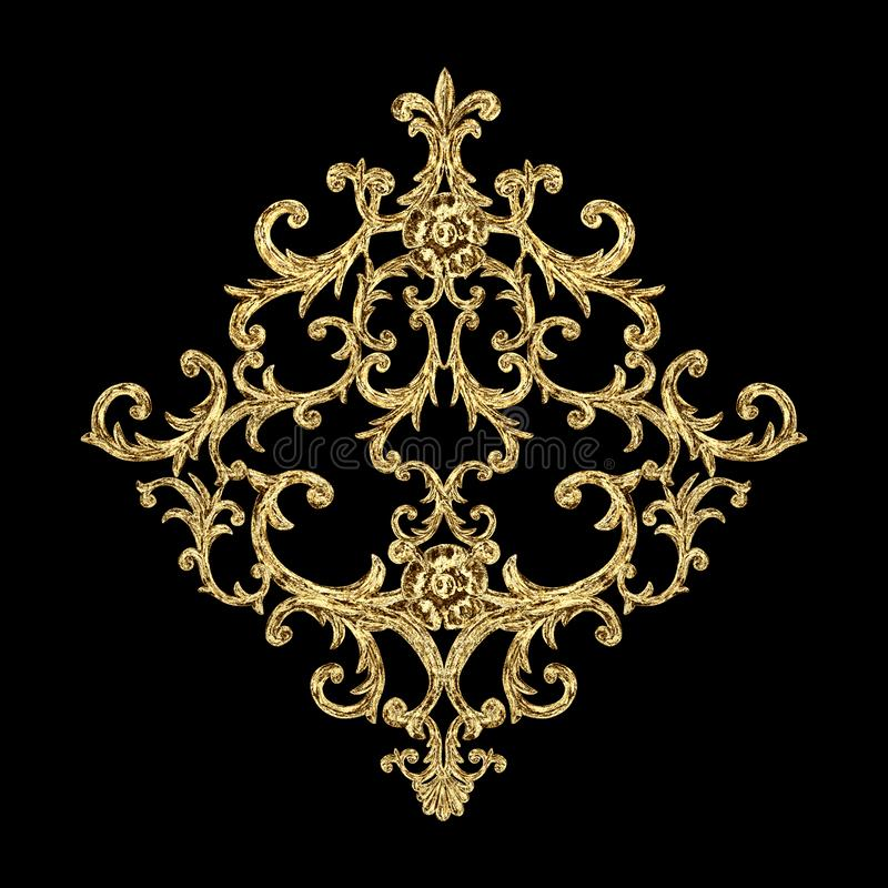 Baroque style gold element. Watercolor hand drawn vintage engraving floral scroll filigree rhombus design stock illustration