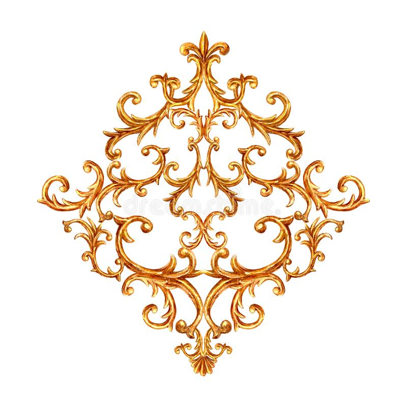 Baroque style gold element. Watercolor hand drawn vintage engraving floral scroll filigree rhombus design. Golden oriental damask curls and flowers pattern for stock image