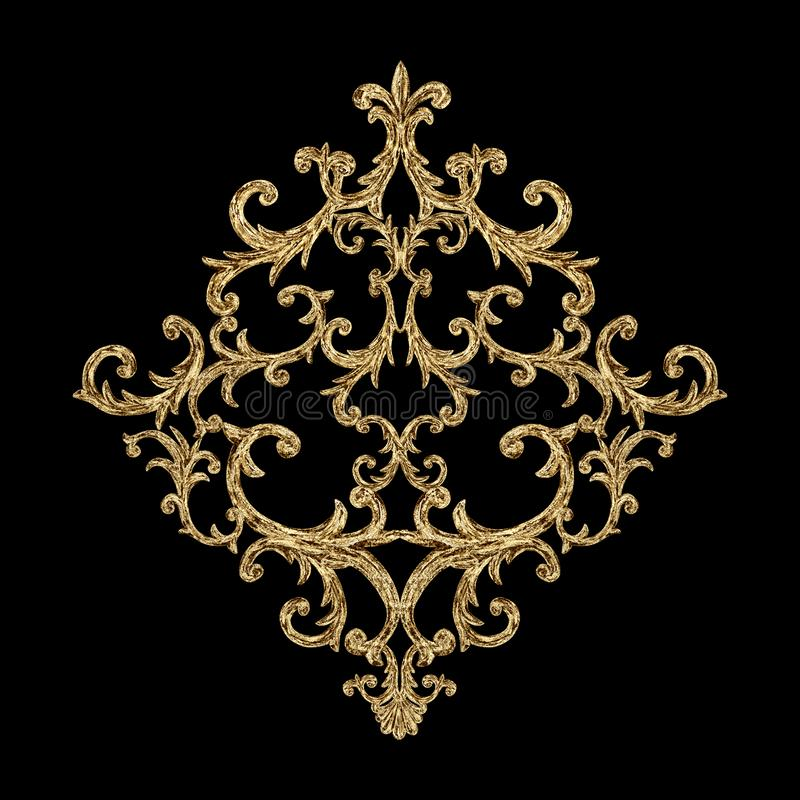 Baroque style gold element. Watercolor hand drawn vintage engraving floral scroll filigree rhombus design vector illustration