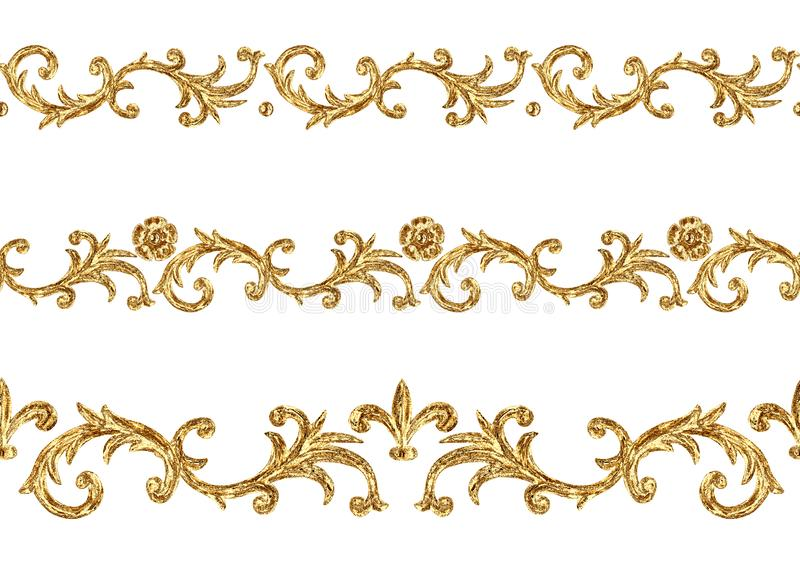 Baroque style golden ornamental segments seamless pattern. Hand drawn gold border frame vector illustration