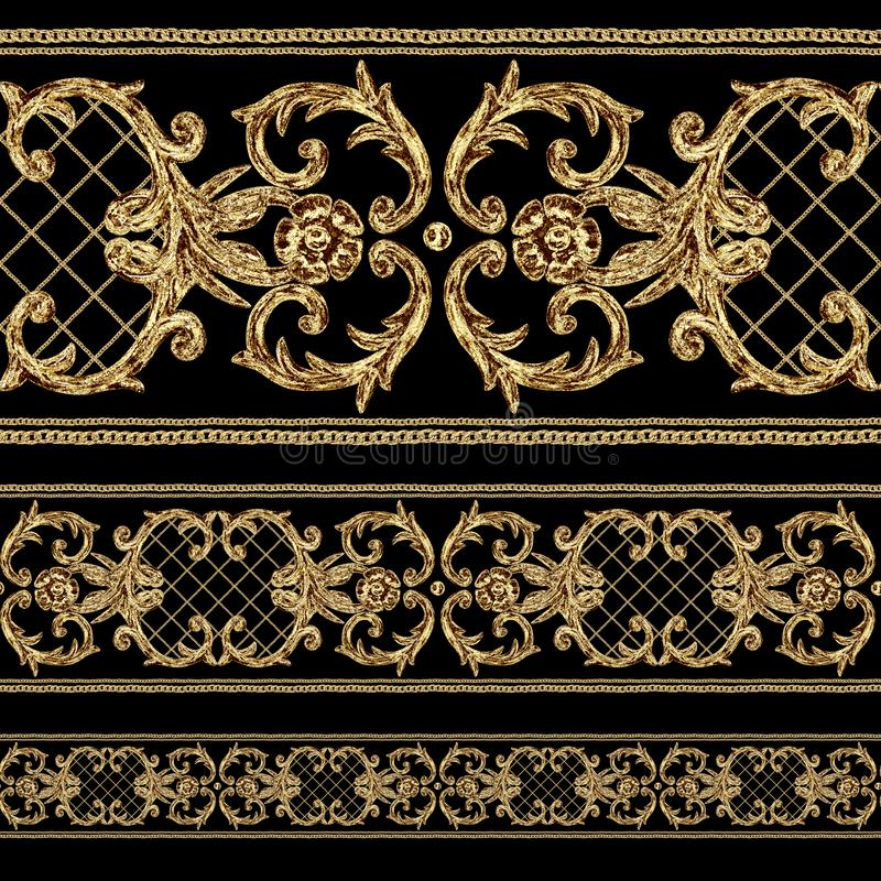 Baroque golden ornamental segments seamless pattern. Watercolor hand drawn gold border elements on black background royalty free illustration