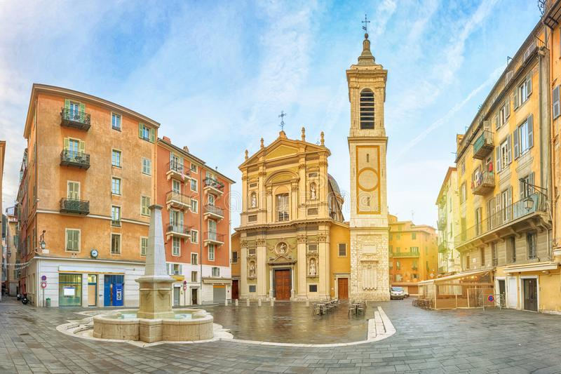 Baroque style Nice cathedral in the morning, France. Nice Cathedral made in baroque style located on Place Rossetti square in Nice, Alpes-Maritimes, France stock images
