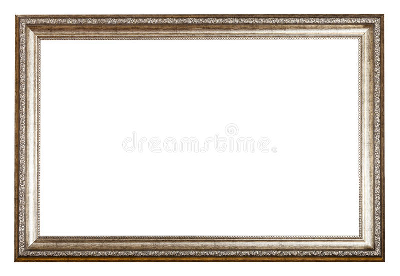 Baroque style sliver wooden picture frame. With cut out blank space isolated on white background royalty free stock image