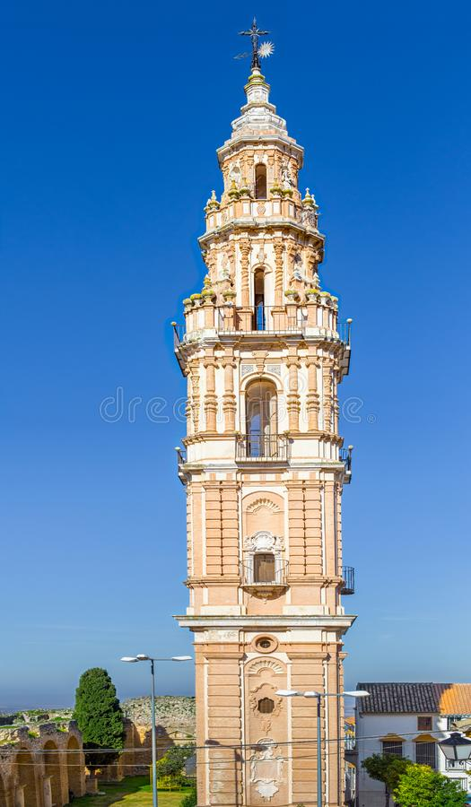 Baroque Tower of Victory in Estepa, province of Seville. Charming white village in Andalusia. Southern Spain. stock images