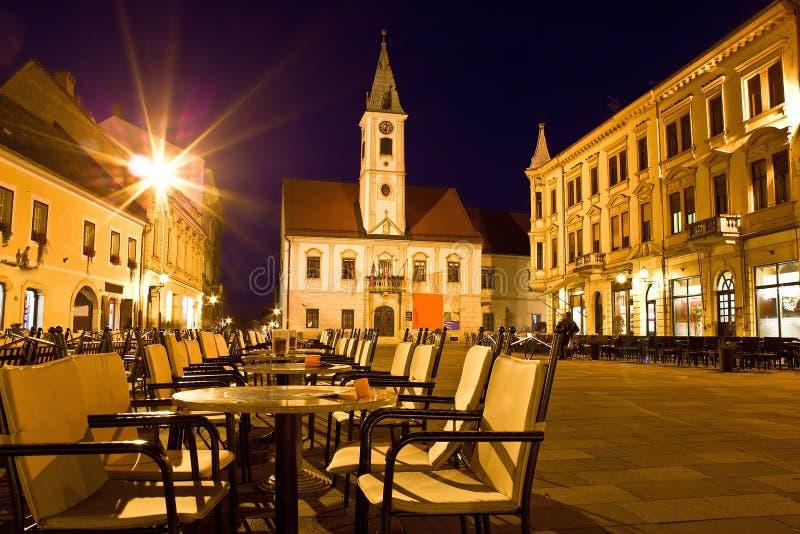 Baroque town of Varazdin city center. At evening, Croatia stock photo