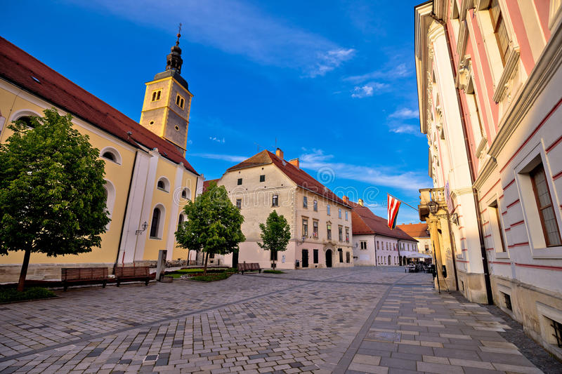 Baroque town of Varazdin street view. Northern Croatia royalty free stock photos