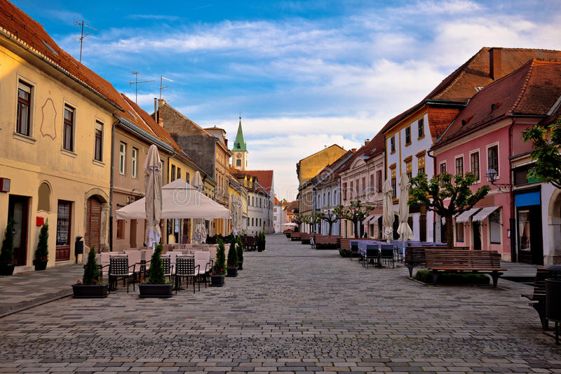 Baroque town of Varazdin street view. Northern Croatia stock photography