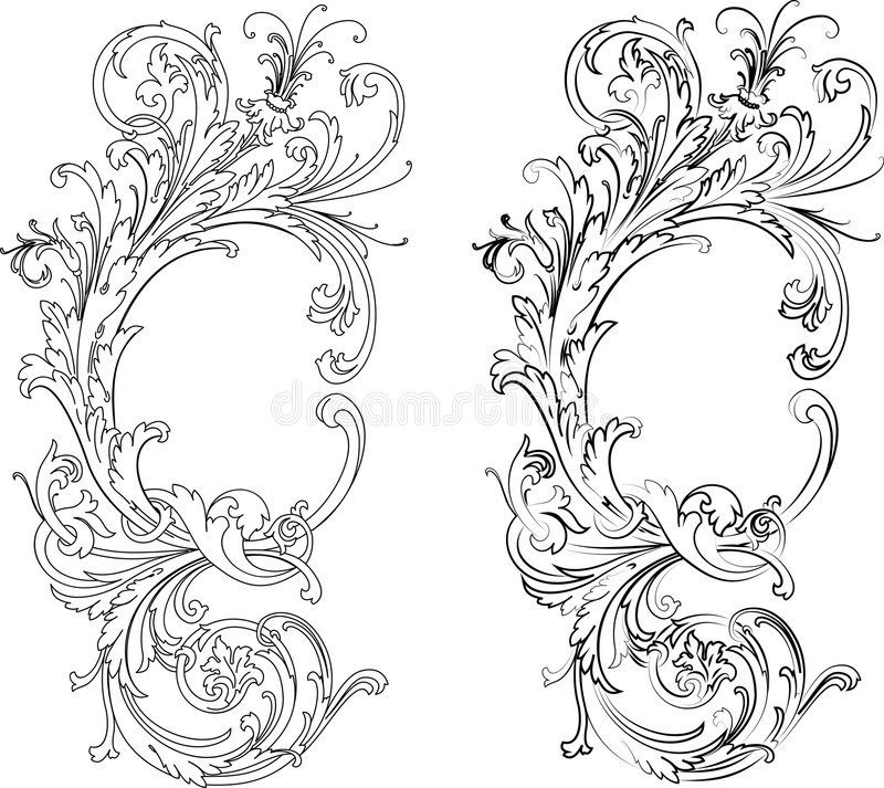 Baroque Two Styles: Traditional and Calligraphy stock illustration