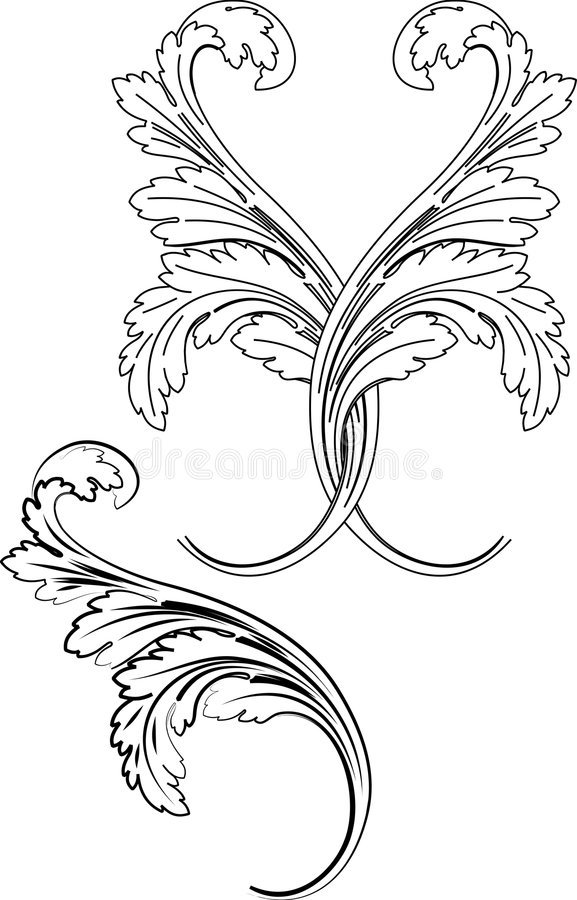 Baroque Two Styles: Traditional and Calligraphy. stock illustration
