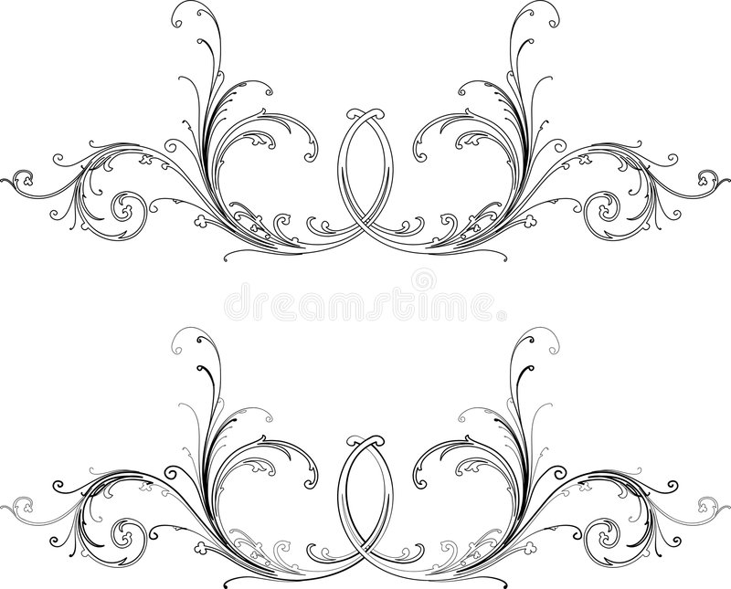 Baroque Two Styles: Traditional and Calligraphy. vector illustration
