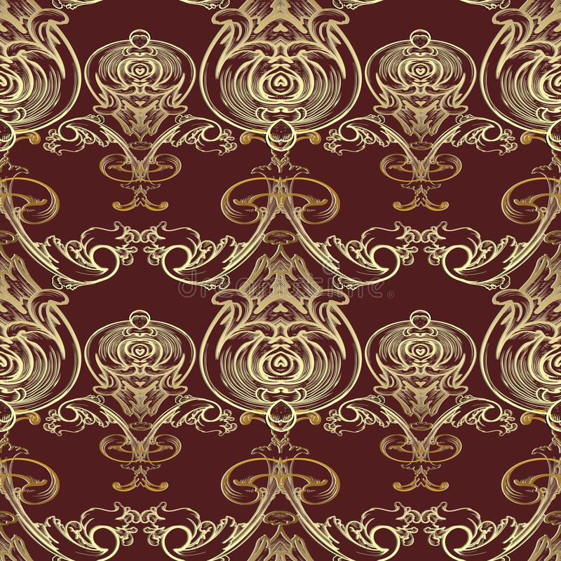 Baroque vector seamless pattern. Damask dark red floral background wallpaper illustration with vintage gold line art tracery flow royalty free illustration