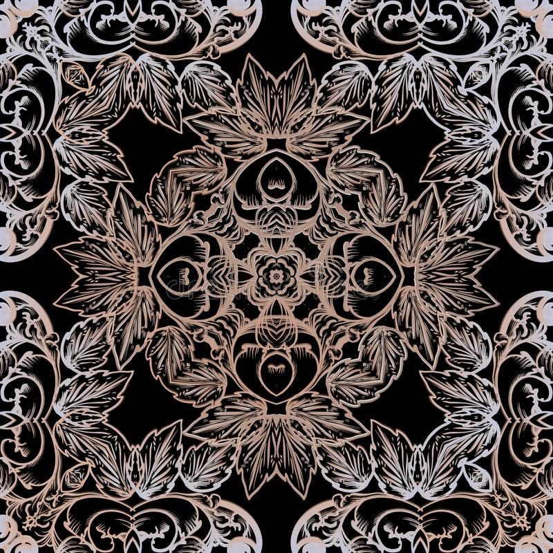 Baroque vector seamless pattern. Ornamental luxury floral ornament. Repeat ornate backdrop. Vintage Damask symmetrical. Ornament in baroque Victorian style royalty free illustration