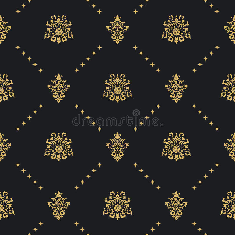 Baroque vintage background with golden ornament royalty free illustration