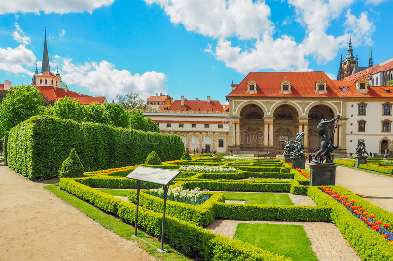 The Baroque Wallenstein Palace in Prague and its french garden in spring. stock images