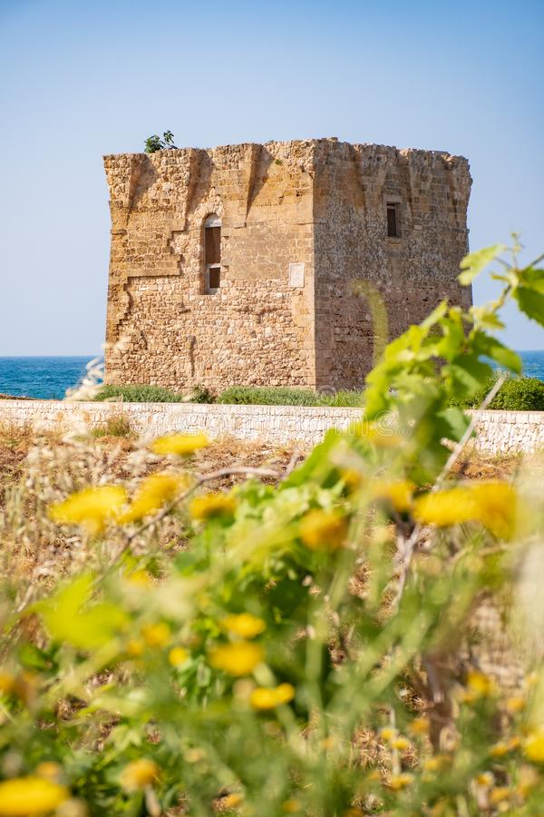 Baroque watchtower, beautiful old tower in San Vito, Polignano a Mare, Bari, Puglia, Italy with with blue sea. Stone wall and flowers, Mediterranean landscape royalty free stock images