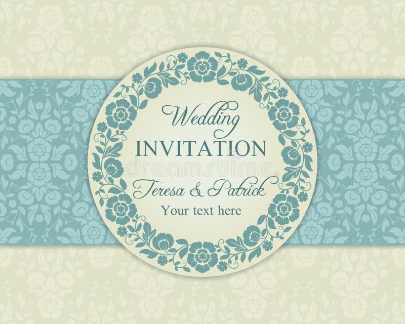 Baroque wedding invitation, blue and beige royalty free illustration