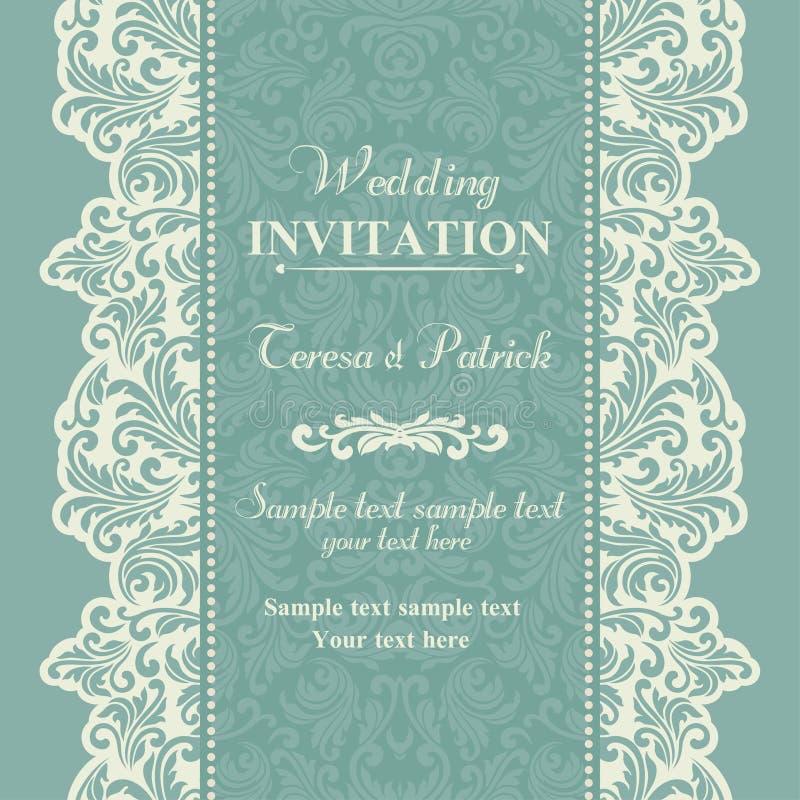 Baroque wedding invitation, blue and beige stock illustration