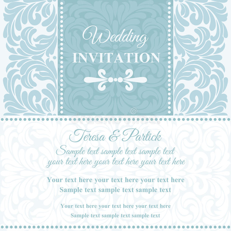 Baroque wedding invitation, blue and white royalty free illustration