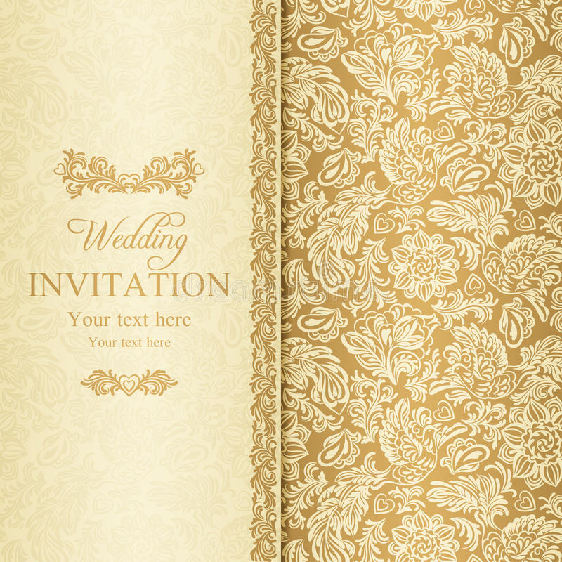 Baroque wedding invitation, gold vector illustration