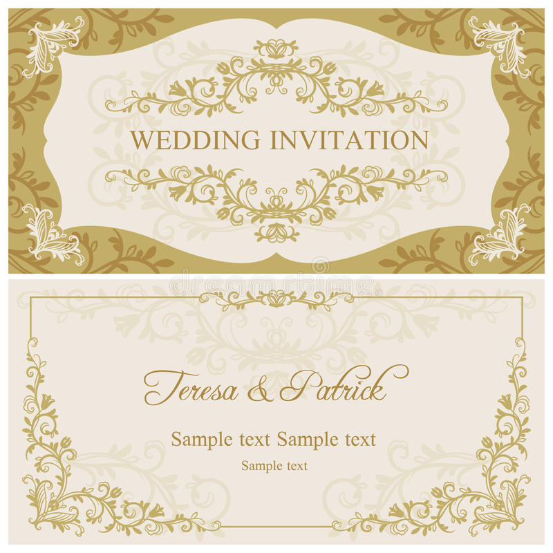 Baroque wedding invitation, gold and beige vector illustration